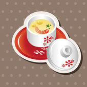 Japanese food steamed egg elements vector,eps — Stockvektor