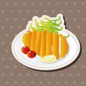 Japanese food theme Pork cutlet elements vector,eps — Stock Vector