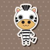 Animal zebra cartoon theme elements — Stock Vector