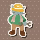 Animal cat worker cartoon theme elements — Stock Vector