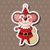 Animal cartoon christmas style theme elements — Stock Vector