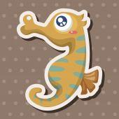 Sea animal hippocampus cartoon theme elements — Stock Vector