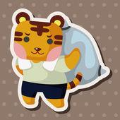Animal tiger worker cartoon theme elements — Stock Vector