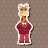 Animal giraffe worker cartoon theme elements — Stock Vector