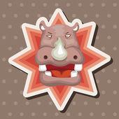 Animal hippo cartoon theme elements — Stock Vector