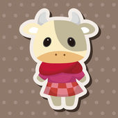 Animal cow winter cartoon theme elements — Stock Vector