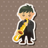 Character musician trumpeter theme elements — Stock Vector