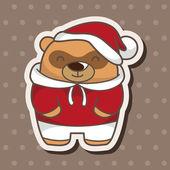 Animal bear winter cartoon theme elements — Stock Vector