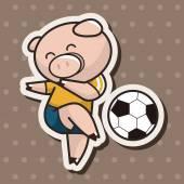 Animals play football cartoon theme elements — Stock Vector