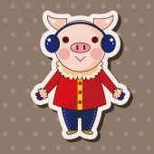 Animal pig winter cartoon theme elements — Stock Vector