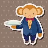 Animal monkey waiter cartoon theme elements — Stock Vector