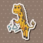 Animal playing instrument cartoon theme elements — Stock Vector