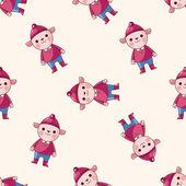 Animal sheep winter cartoon , cartoon seamless pattern background — Stock Vector