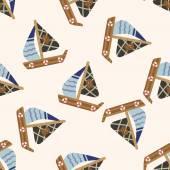 Transportation boat , cartoon seamless pattern background — Stock Vector