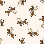 Cowboy , cartoon seamless pattern background — Stock Vector