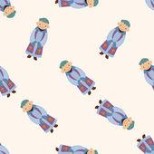 Pastor and nun , cartoon seamless pattern background — Stock Vector