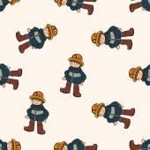 Fireman , cartoon seamless pattern background — Stok Vektör