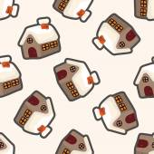 Gingerbread house , cartoon seamless pattern background — Stock Vector