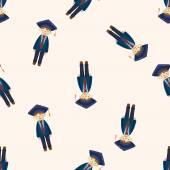 Graduate student , cartoon seamless pattern background — Stock Vector