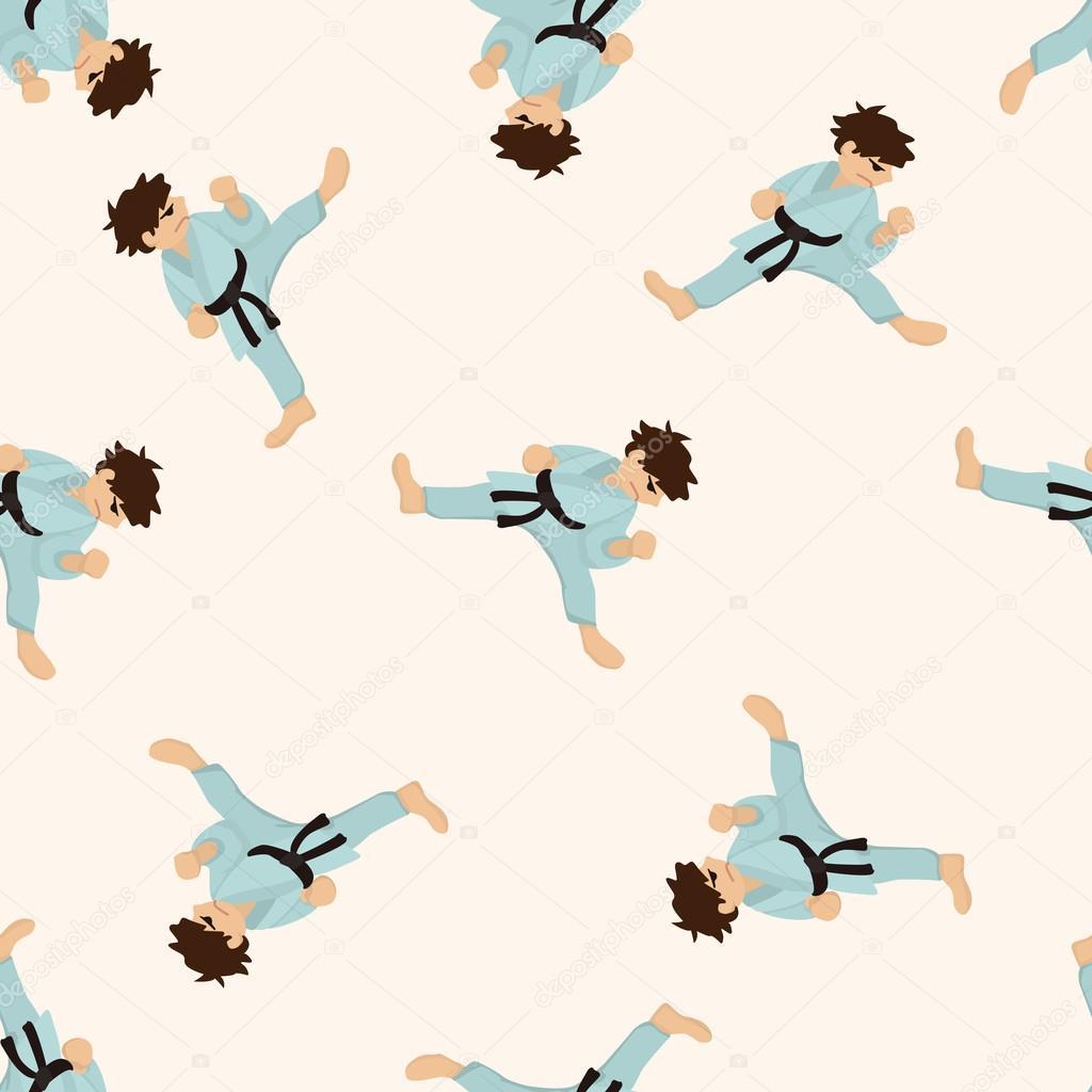 跆拳道,卡通无缝图案背景– 图库插图