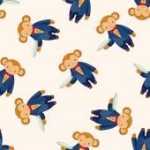 Animal monkey waiter cartoon , cartoon seamless pattern background — Stock Vector