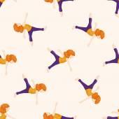 Dancer , cartoon seamless pattern background — Stock Vector