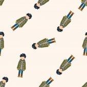 Junge Mann Cartoon, Cartoon nahtlose Hintergrundmuster — Stockvektor