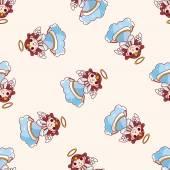 天使、漫画のシームレスなパターン背景 — ストックベクタ