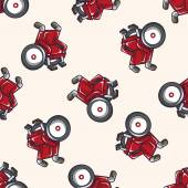 Wheelchair , cartoon seamless pattern background — Stock Vector
