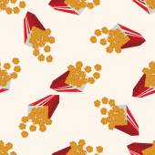 Fried foods theme chicken nuggets , cartoon seamless pattern background — Stock Vector