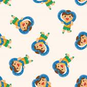 Little kid with heart , cartoon seamless pattern background — Stock Vector