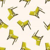 Cadeira, ícone de etiqueta dos desenhos animados — Vetor de Stock