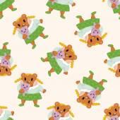 Medvěd kreslený, bezešvé pattern — Stock vektor