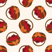 Apples in the gift basket icon,10,seamless pattern — Stock Vector