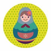 Matryoshka , Russian traditional wooden doll, vector pattern, fl — Stock Vector