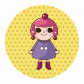 Lady girl cartoon theme elements — Stock Vector