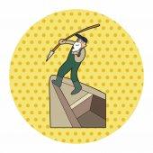 Fisherman cartoon theme elements — Stock Vector