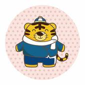 Animal tiger winter cartoon theme elements — Stock Vector
