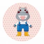 Animal hippo winter cartoon theme elements — Stock Vector