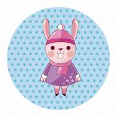 Animal rabbit winter cartoon theme elements — Stock Vector
