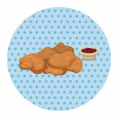 Fried foods theme chicken nuggets elements — Stock Vector