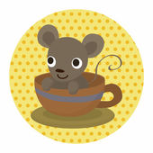 Animal mouse having afternoon tea theme elements — Stockvektor