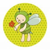 Bee cartoon theme elements — Stock Vector