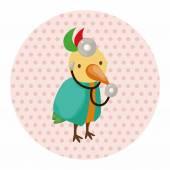 Animal bird doctor cartoon theme elements — Stock Vector