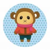 Zvířecí opice zimní karikatura téma prvky — Stock vektor