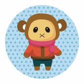 Animal monkey winter cartoon theme elements — Stock Vector