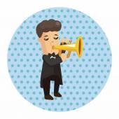 Charakter muzyk trębacz tematu elementów — Wektor stockowy