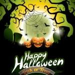 Vector illustration on a Happy Halloween theme on moon background. — Stock Vector #53737805