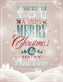 Vector Christmas illustration with typographic design on snowflakes background. — Stock Vector