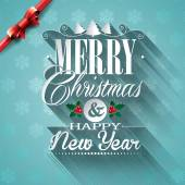 Vector Christmas illustration with typographic design and ribbon on snowflakes background. — Stock Vector